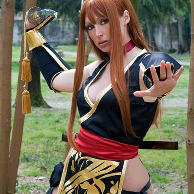 Kasumi's new black costume from Dead or Alive
