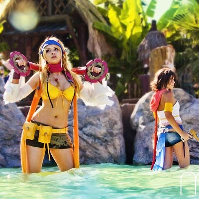 Final Fantasy's Rikku and Yuna fun in the blue