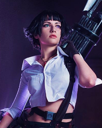 Lady in Devil May Cry video game cosplay from Capcom